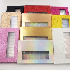 Image 2 - NEW 10/20pcs wholesale false eyelashes packaging box 3d fake mink lashes boxes faux cils strip 5pair magnetic case empty
