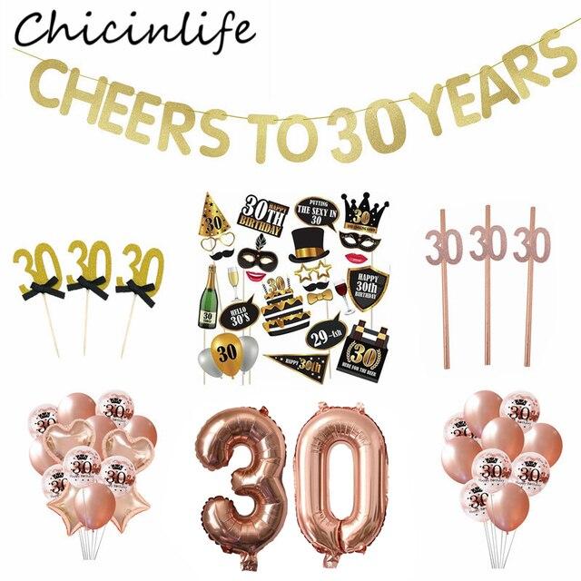 Chicinlife 30 ty temat balon na przyjęcie urodzinowe Cupcake Topper rekwizyty fotograficzne Banner słomy konfetti impreza dla dorosłych materiały dekoracyjne