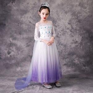 Image 5 - Kızın prenses dondurulmuş kar kraliçesi Elsa parti Cosplay kostüm