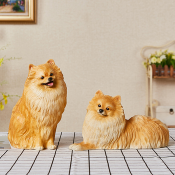Simulated Dog Ornaments Pet Dog Bomei Model Living Room Wine Cabinet TV Cabinet Fake Dog Sculpture Resin Handicraft