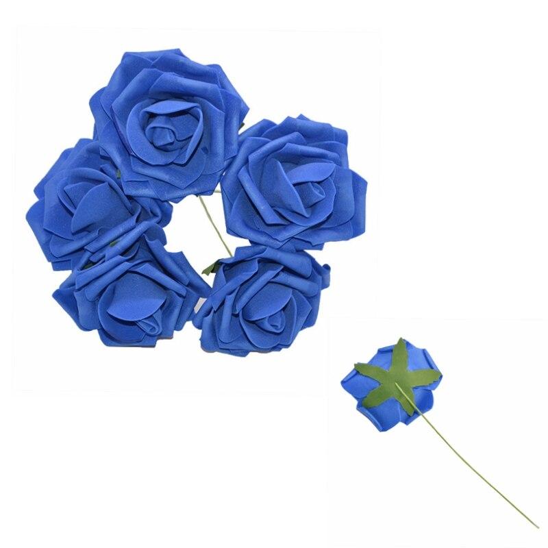 10 шт. 8 см большие ПЭ пенные цветы искусственные розы цветы Свадебные букеты Свадебные украшения для вечеринки DIY Скрапбукинг Ремесло поддельные цветы - Цвет: Royal blue