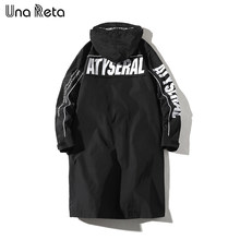 Una Reta Windbreaker Men New Fashion casual Loose High quality Hooded Jackets Man Hip Hop Streetwear Long Trench coat Mens(China)