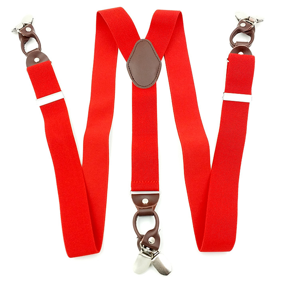 Men Commercial Casual Portable Accessories Across Leather Alloy Vintage Clip On Elastic Suspenders