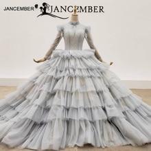 HTL1381 회색 계층화 된 이브닝 드레스 상단 및 투명 한 구슬 이브닝 가운 레이스 저녁 드레스 플러스 크기 Sukienki