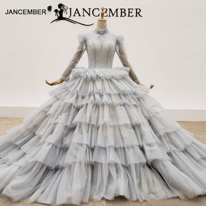 Image 1 - HTL1381 אפור שכבות ערב שמלות למעלה ושרוול עם שקוף חרוז ערב שמלת תחרה עד שמלת ערב בתוספת גודל Sukienki