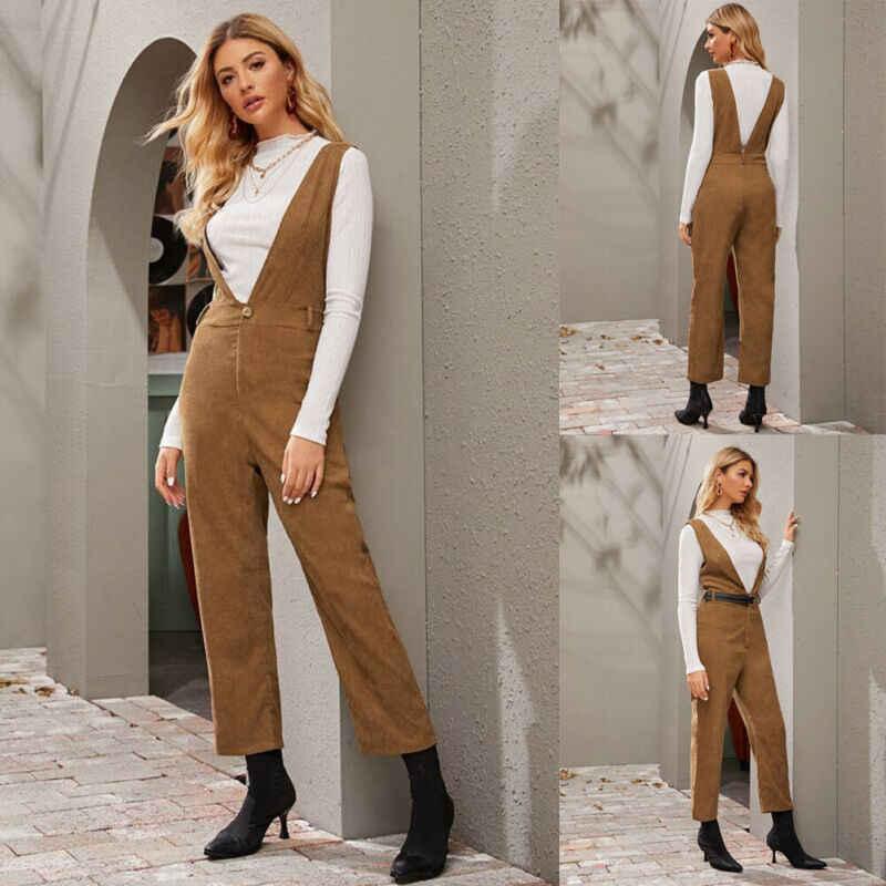 Frauen Jumpsuit Off-Schulter Overall Khaki Cord Insgesamt Clubwear Hose Gerade Hosen Frauen Overalls