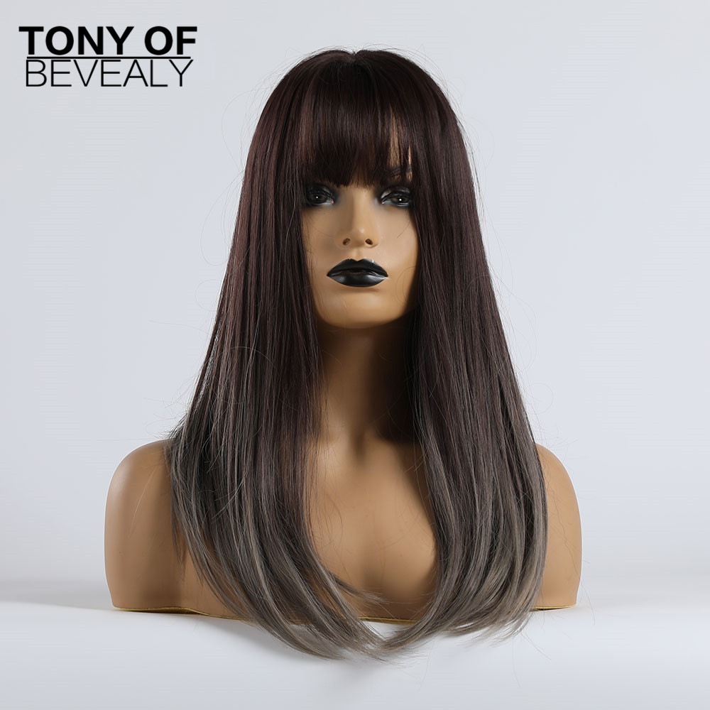 Image 5 - Long Straight Black to Beige Ombre Synthetic Wigs With Bangs For Women Natural Daily Party Hair Wigs Heat Resistant FiberSynthetic None-Lace  Wigs   -