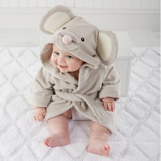 Towel Material Cartoon Style Boy Girl Baby Bathrobe Towel Absorb Water Sweat Baby Jumpsuits Japanese Side Band Crawl Suits