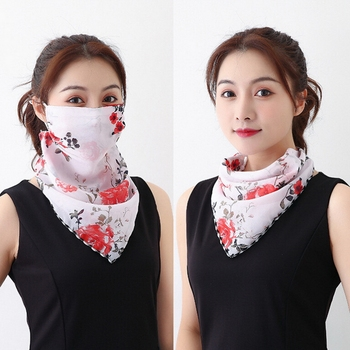 1PC Sun Prevent Chiffon Ear Hanger Half Face Mask Breathable Triangle Bandana Neck Cover Scarf Outdoor Hiking Cycling Accessory