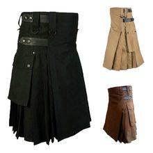 Pantalones personalizables Vintage para hombre, faldas plisadas con bolsillo, Kilt, escocesa, gótico, Kendo, 19Sep04