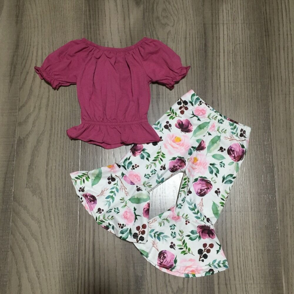 Baby Girl Girls Spring Outfits Purple Raglans With Floral Bell Bottom Capri Pant Girls Outfits Wholesale