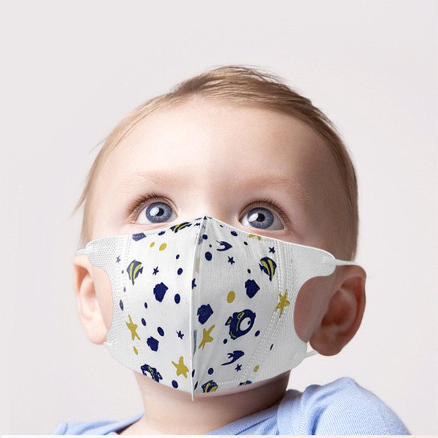 100Pcs 3 layer Disposable Elastic Mouth Soft Breathable Blue Soft Breathable Flu Hygiene Child Kids Face Mask Dropshipping 3