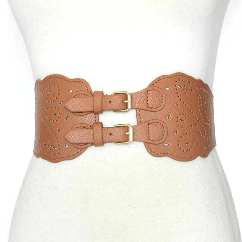New Fashion Hollow Pin Buckle Imitation Leather Girdle Retro Waist Tight Women Clothing Accessories Wide Corset Belt Cummerbunds