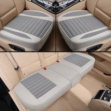 Funda de lino para asiento de coche, cojín Universal de lino transpirable para las cuatro estaciones, Protector de asiento delantero/trasero para camión, Suv o furgoneta