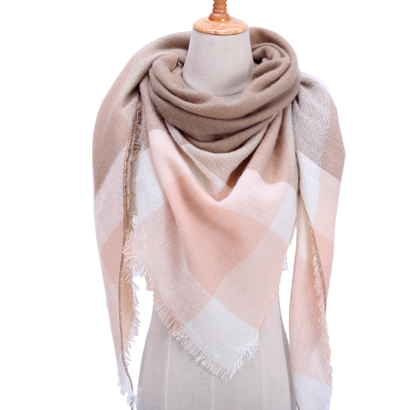 Women Winter Scarf Retro Plaid Cashmere Knitted Pashmina Shawls Wraps Lady Soft Triangle Scarves Bandana Warm Blanket 2020 New