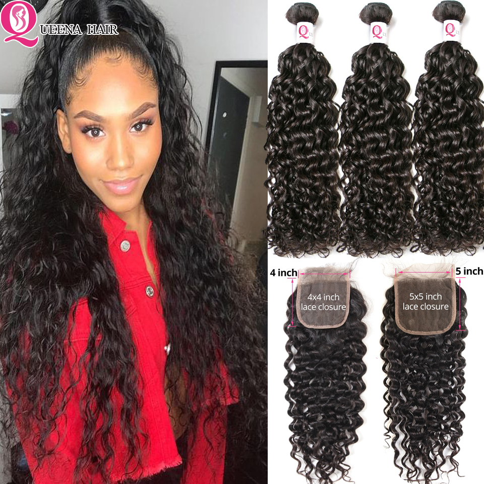 Water Wave Bundles With Closure Brazilian Hair Weave Bundles And 4x4 5x5 6x6 Lace Closure Remy Human Hair 3 Bundles With Closure