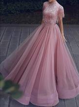 Новые Элегантные розовые Длинные Выпускные платья ремни Украшенные