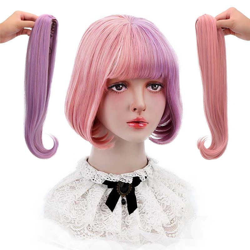 """2 Claw Paardenstaart Hair Extension Bob Pruik Met Pony 12 """"Paars Roze Ombre Synthetisch Haar Cosplay Lolita Pruik Voor vrouwen Hittebestendige"""