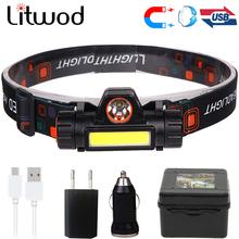 XPE + COB przenośna mini lampa czołowa LED wbudowana ładowalna bateria USB 18650 z magnesem latarka Camping turystyka nocna lampa wędkarska tanie tanio litwod Żarówki led Wysoka średnim niskie 2504 Reflektory 60 ° ROHS Night Fishing Headlight LITHIUM ION 180lm (COB) 500lm (Q5)