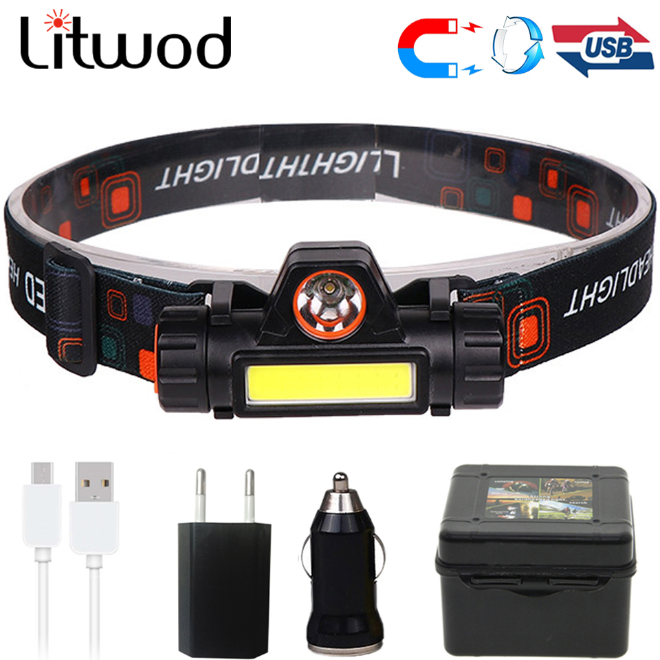 XPE+COB Portable Mini LED Headlamp Built-in USB Rechargable 18650 Battery With Magnet Torch Camping Hiking Night Fishing Light