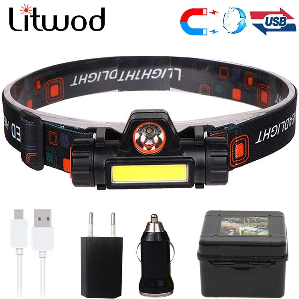 XPE + COB portátil mini LED faro incorporado USB recargable 18650 batería con imán antorcha Camping senderismo noche pesca Luz
