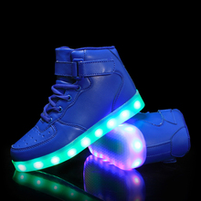 Unsex High Top Sneakers Glowing Light Up Shoes  led shoes For Men Women With Charge lights up led luminous shoes high top glowing casual shoes with new simulation sole charge for boys and girl neon basket sneaker