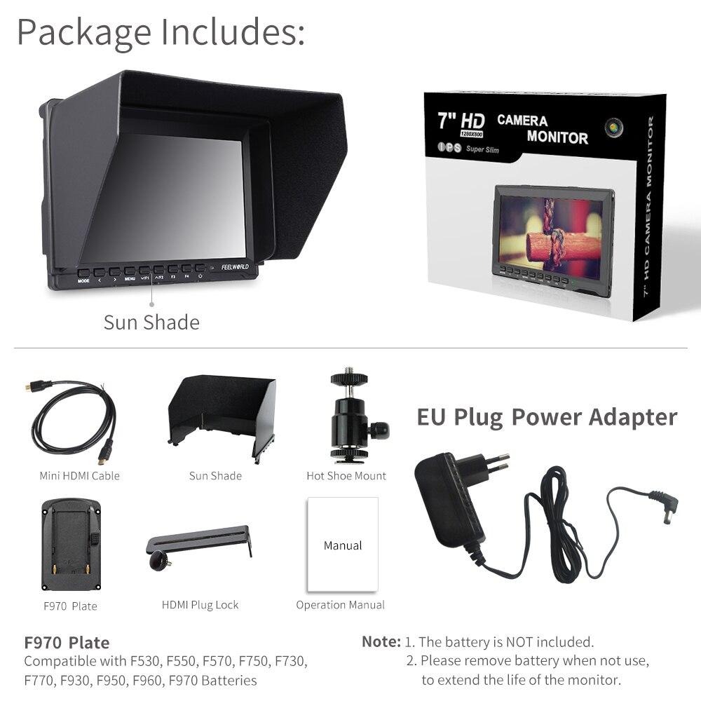 FEELWORLD FW759 7 дюймов для однообъективной цифровой зеркальной фотокамеры камера полевой монитор 4K HDMI AV вход ips HD 1280x800 ЖК-дисплей видео помощь для Sony Nikon Canon - Цвет: EU Plug Adapter