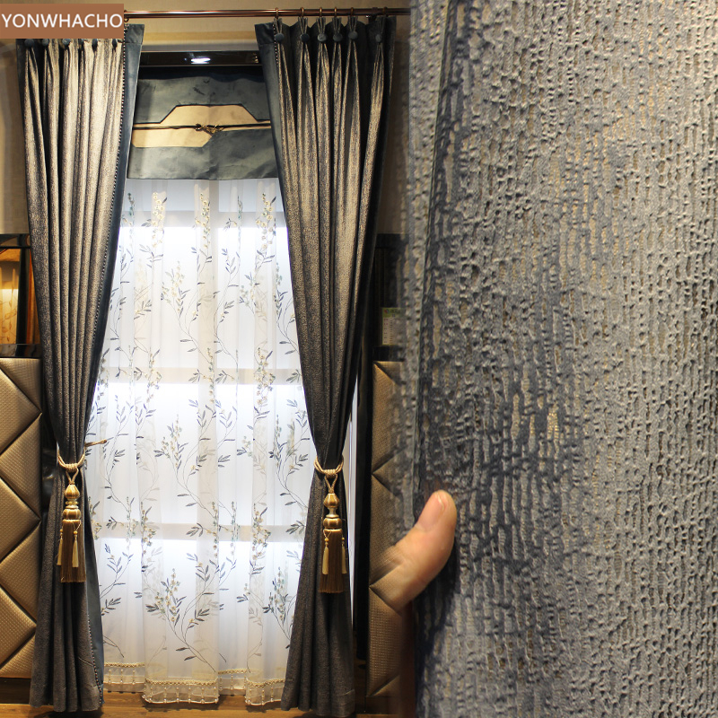 Custom Curtains Light Chinese Italian Velvet Living Room Bedroom Floor Grey Thick Cloth Blackout Curtain Tulle Drapes Panel B540