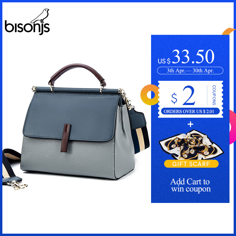 BISONJS Genuine Leather Luxury Handbags Women Bags Designer Large Capacity Female Messenger Bag Patchwork Shoulder Bag B1811