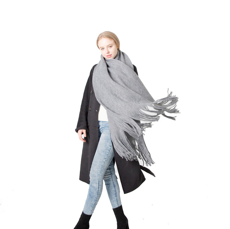2019 Autumn New Solid Color Wraps Thin Long Scarf with Tassel Casual Lady Winter Female Shawl