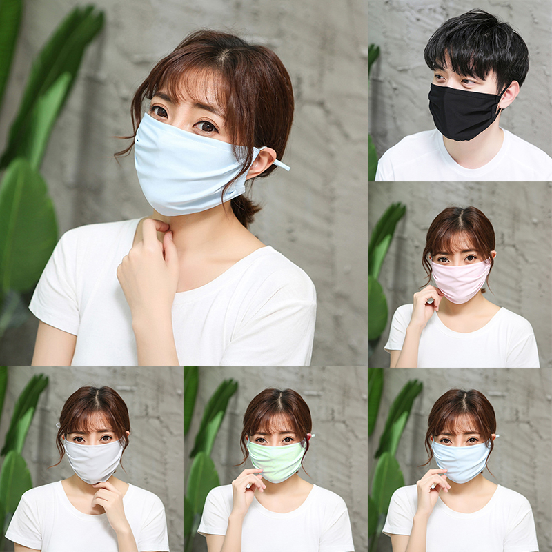 1Pc Sunscreen Mouth Mask Anti Haze Dust Washable Reusable Mouth-muffle Summer Spring Double Layers Ice Silk Face Mouth Masks