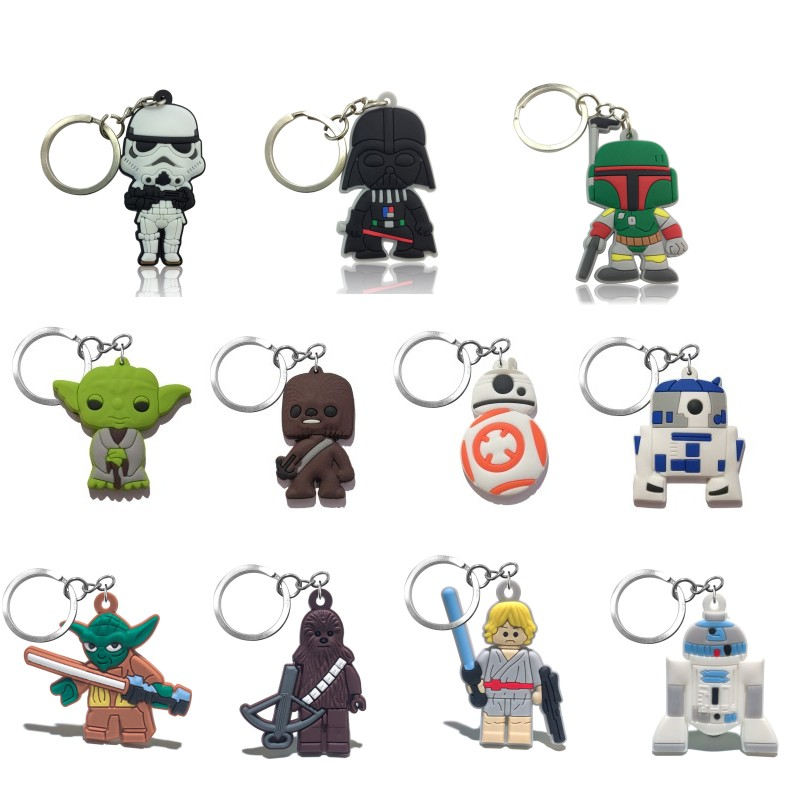 1pcs Star Wars Keychains Anime PVC Key Ring Yoda R2D2 BB8 Key Chain Fashion Key Holder Chaveiro Kids Xmas Gift Party Favor