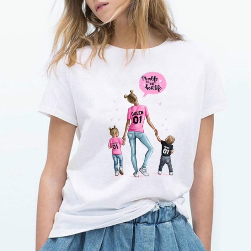 Camiseta de mujer moda coreana Harajuku Kawaii blanco Camiseta Regalo para mamá Camiseta femenina Camiseta Casual de la madre