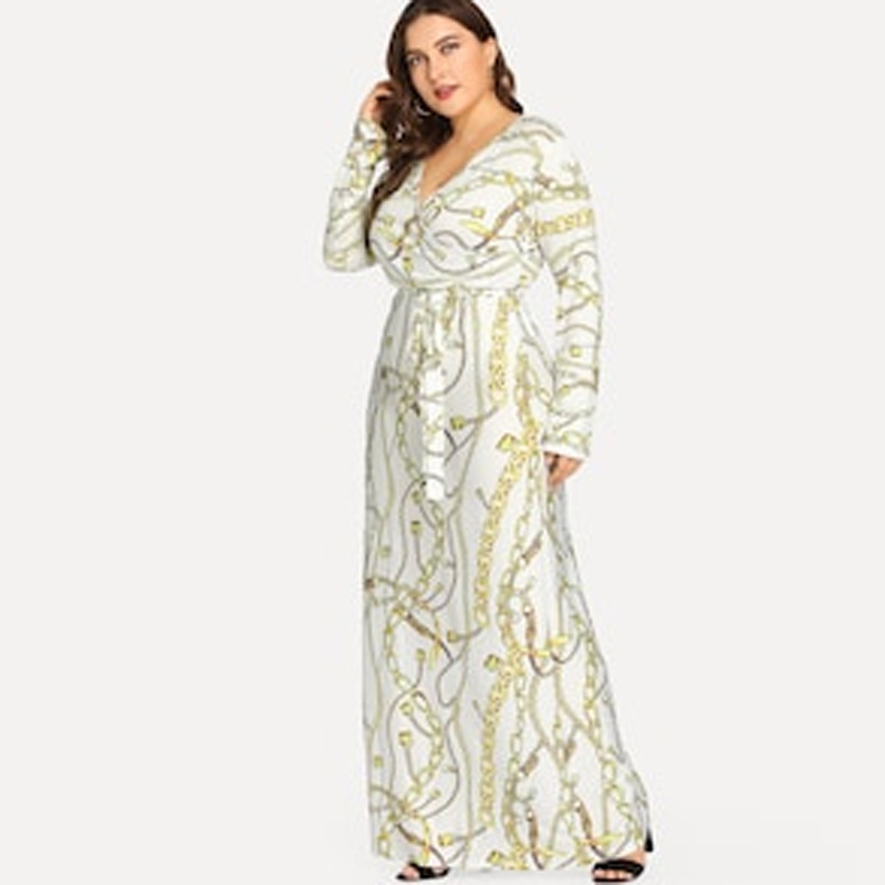 <font><b>Vestidos</b></font> Longo <font><b>2019</b></font> Summer Women Fashion Plus Size Print Long Sleeve maxi dress vestido <font><b>largo</b></font> <font><b>verano</b></font> <font><b>mujer</b></font> image