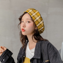 Girls Plaid Berets Hat Cap Women Vintage Style Female Warm Winter Hats High Quality Boina Lady Beanie Dome Trend Warmer