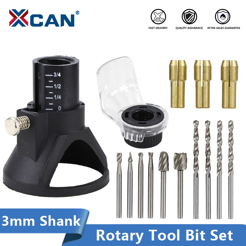 XCAN Rotary Tools Dedicated Locator Set Grinding Locator With Twist Drill Bit Wood Rotary Files Power Tools Accessories