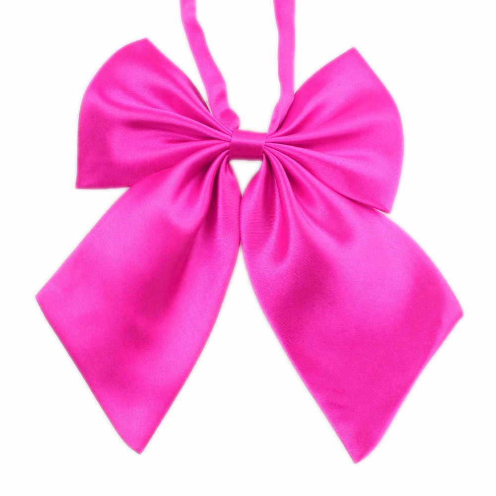 1pc offre spéciale femmes filles soie nœuds papillon hôtesse papillon nœuds papillon Cravat Vintage cou porter accessoires solide Cravats fête