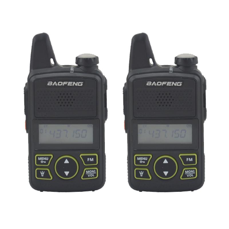 2pieces Baofeng Bf-t1 Walkie Talkie UHF 400-470MHz 20CH 1W Mini Pocket Portable Ham FM Radio With Earpiece