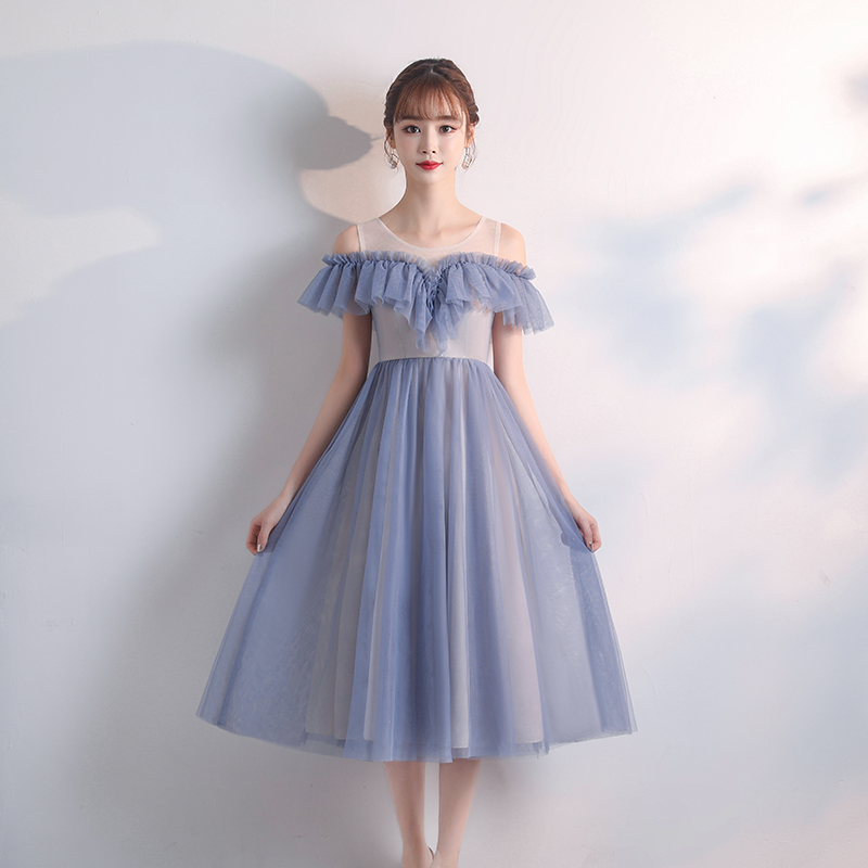 A-Line Tea-Length Elegant Dress Women For Wedding Party Bridesmaids Dress Sister Vestido Largo Sirena Sexy Dress Prom Azul Royal