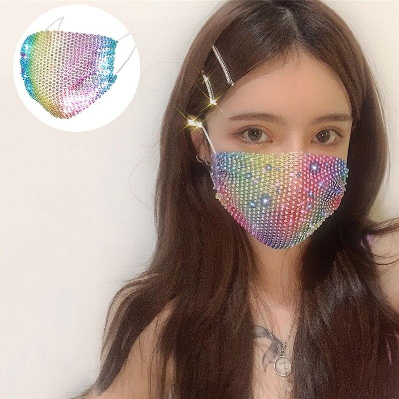 2020 Unisex Shining Mask Rhinestone Decoration Elastic Mask Jewellery Dance Party Cosplay Night Club Crystal Masks Face Jewelry(China)
