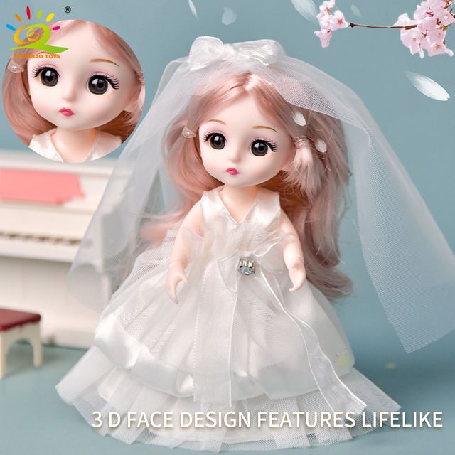 6pcs 5.9inch 13 Moveable Fashion bjd Boneca Dolls Joint body Ball Jointed Reborn Wedding Dress Make Up Dolls Toys Gift For Girls 4