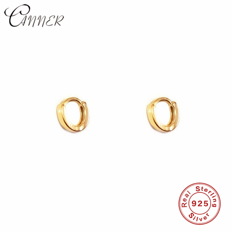 CANNER Minimalist Thick Round Stud Earring Geometric Huggie Jewelry Korean Small Loop Earings Simple 925 Sterling Silver Earring