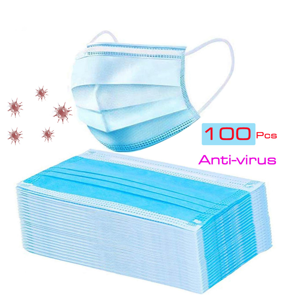 100Pcs Unisex Non-woven Anti-dust Face Mouth Mask Disposable 3 Layers Health Care PM2.5 White Anti-viru Facial Protective Masks