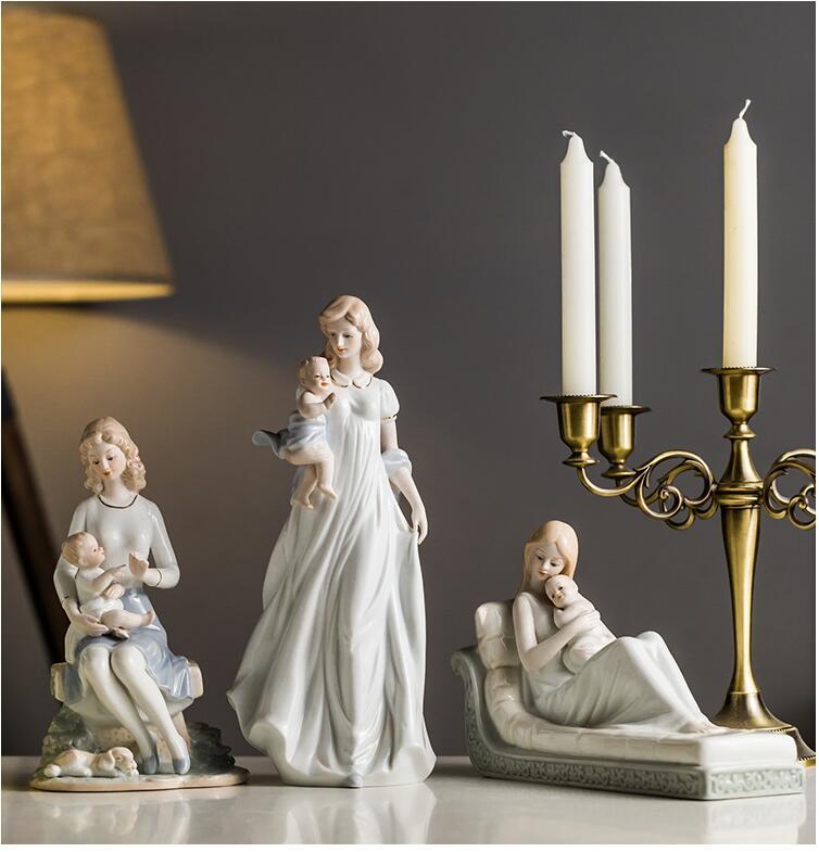 Céramique européenne chaude Parent-enfant mère et fils décoration fête des mères pleine lune cadeau maison salon Table Figurines artisanat