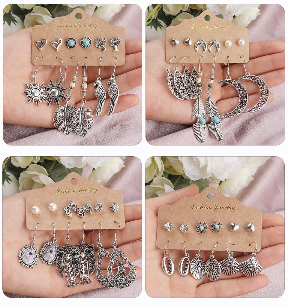 Bohemia Silver Earrings Set Vintage Ethnic Long Round Leaf Tassel Wedding Water Drop Earrings for Women Girls Statement Jewelry (170)