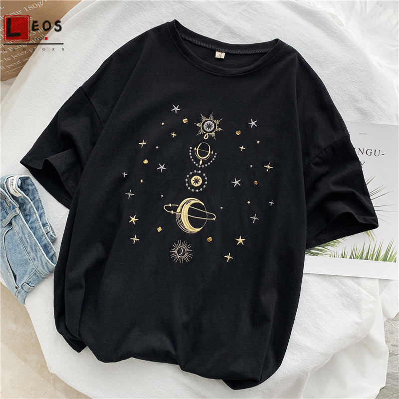 Star Embroidery Women T-Shirts Cartoon Moon Planet Print Short Sleeve For Girls Summer Casual Harajuku Funny Female Top Tee Hot