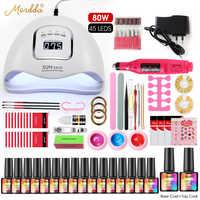 MORDDA Manicure Set Soak Off Gel Nail Polish Kits UV Led Lamp Electric Nail Drill For Home Use Handle Nail Art Design Tools Set