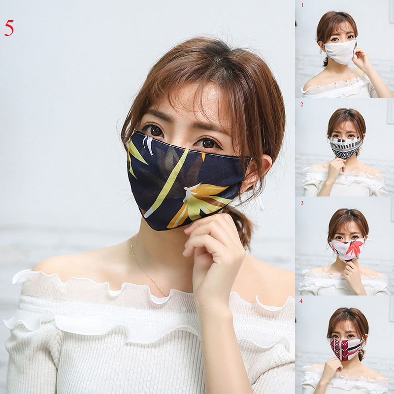 Women's Floral Print Sunscreen Lace Mask Lady's PM 2.5 Breathable Embroidery Mouth-muffle