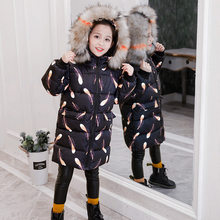 Girls Winter Coat Jacket 2019 Children New Arrival Feather Cotton-padded Parkas Warm Clothes Teens Print Outerwear Hooded Coat цена 2017
