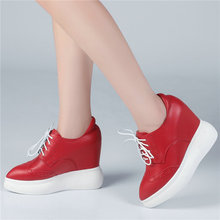 Women Lace Up Cow Leather High Heel Pumps Shoes Pointed Toe Wedges Platform Oxfords Tennis Punk Goth Creepers Casual